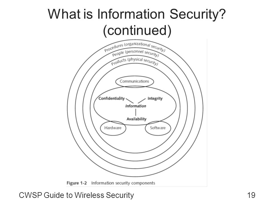 CWSP Guide to Wireless Security19 What is Information Security? (continued)