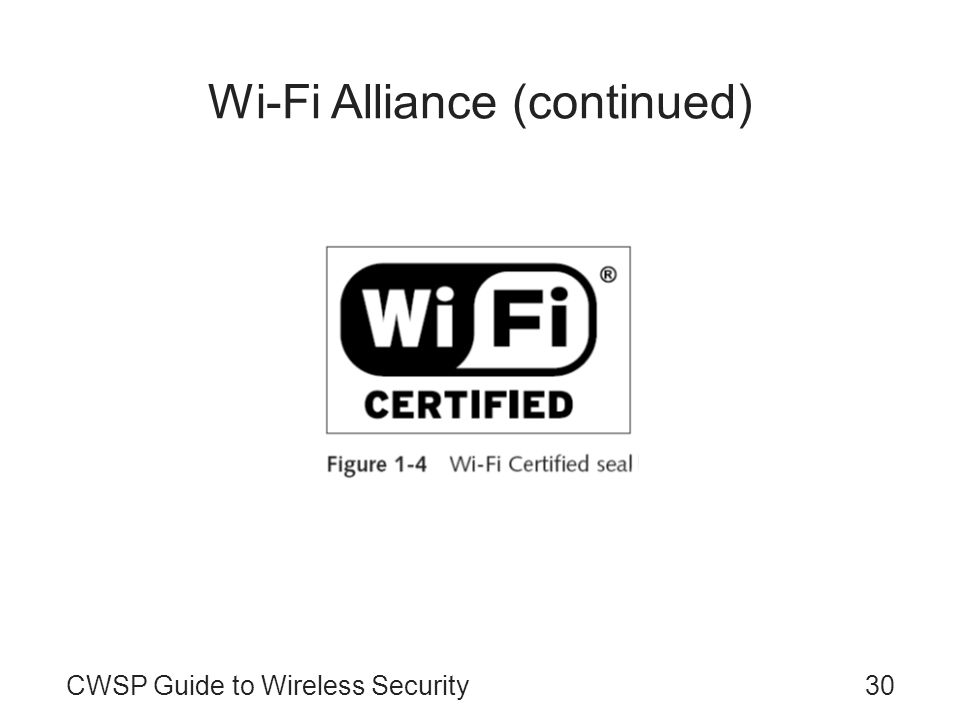 CWSP Guide to Wireless Security30 Wi-Fi Alliance (continued)