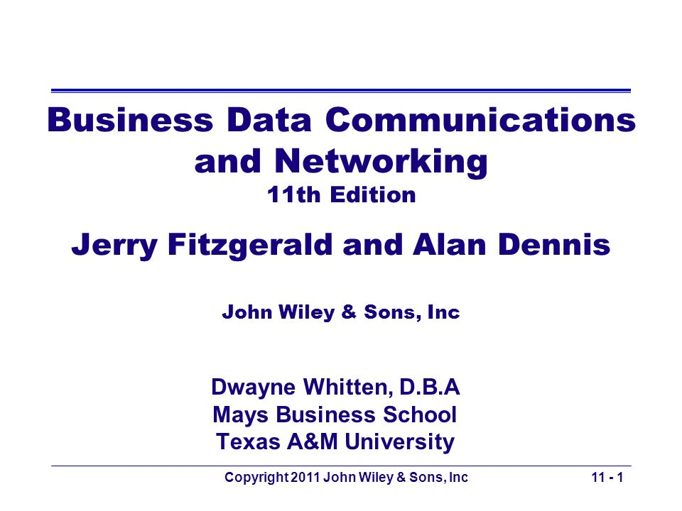 Copyright 2011 John Wiley & Sons, Inc Network with Content Delivery User: in Singapore: –Requests a web page from yahoo.com Client: Yahoo.com server farm located in California –Responds with a dynamic HTML page with static graphic files –Static content is directed to be pulled form Akamais server in Singapore 11 - 62