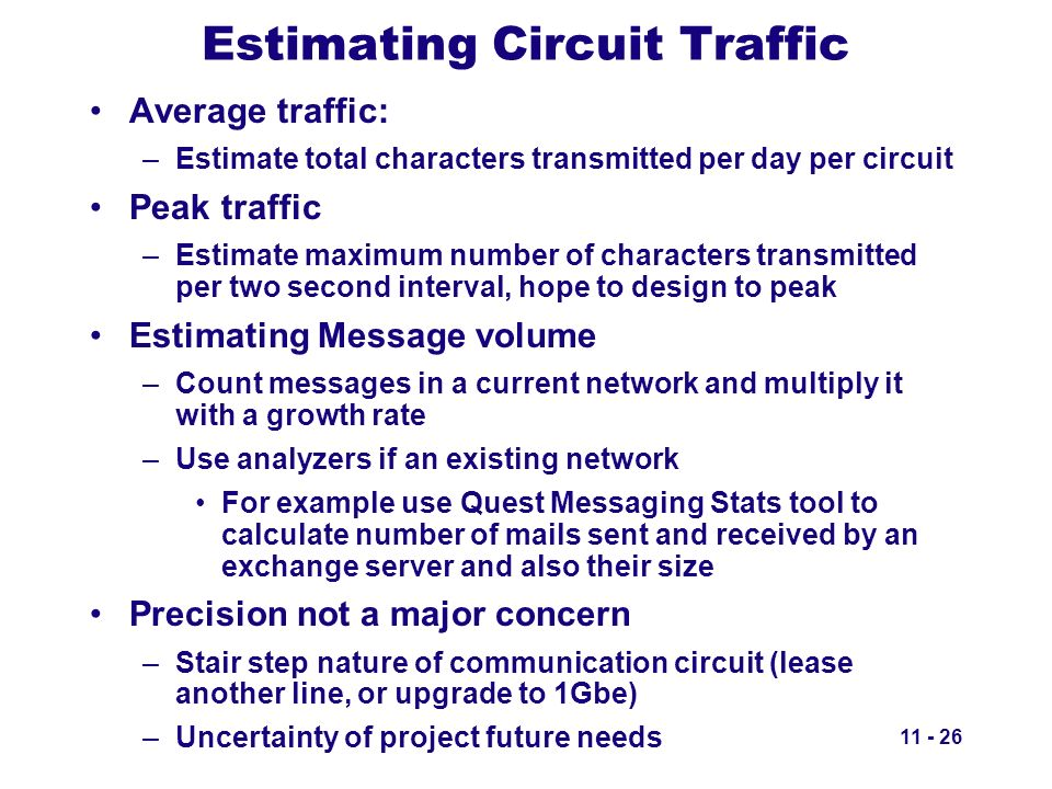 Estimating Circuit Traffic Average traffic: –Estimate total characters transmitted per day per circuit Peak traffic –Estimate maximum number of charac