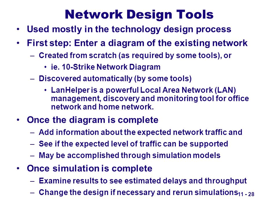 Network Design Tools Used mostly in the technology design process First step: Enter a diagram of the existing network –Created from scratch (as requir