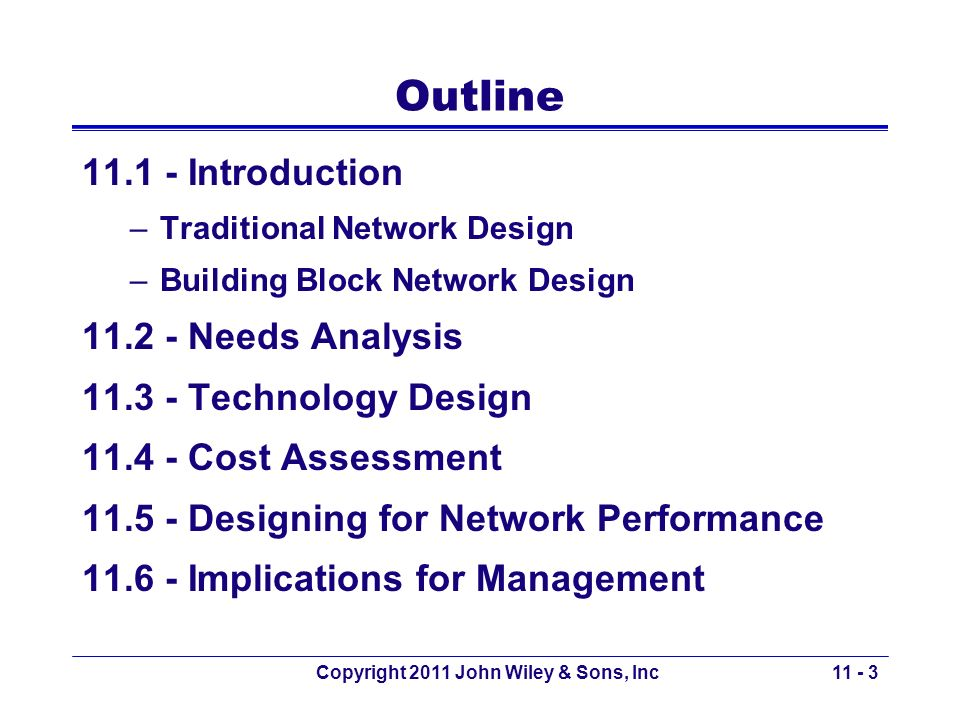 Copyright 2011 John Wiley & Sons, Inc Outline 11.1 - Introduction –Traditional Network Design –Building Block Network Design 11.2 - Needs Analysis 11.