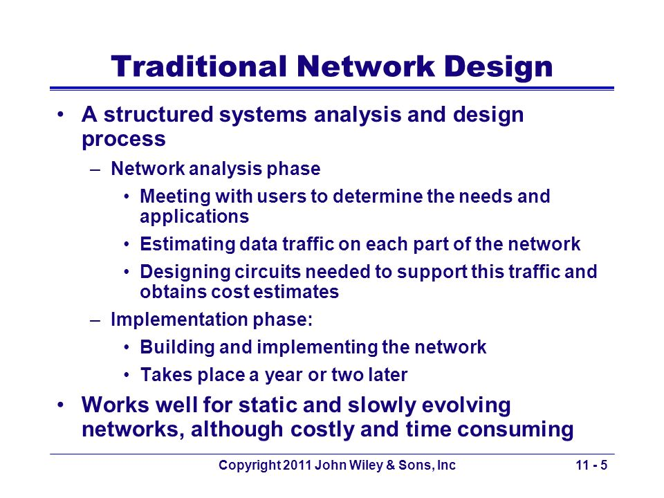 Copyright 2011 John Wiley & Sons, Inc Inadequacy of Traditional Design Three forces make the traditional design approach less appropriate for many of todays networks: 1.Rapidly changing technology of computers, networking devices and the circuits More powerful devices, much faster circuits 2.Rapidly growing network traffic Difficulty of estimating demand and growth requires shorter planning periods of 3 years or so 3.Dramatic change in the balance of costs Before: Equipment was costly; now: staff Design goal: Minimize the staff management time to operate rather than the hardware costs, such as using standardized equipment 11 - 6