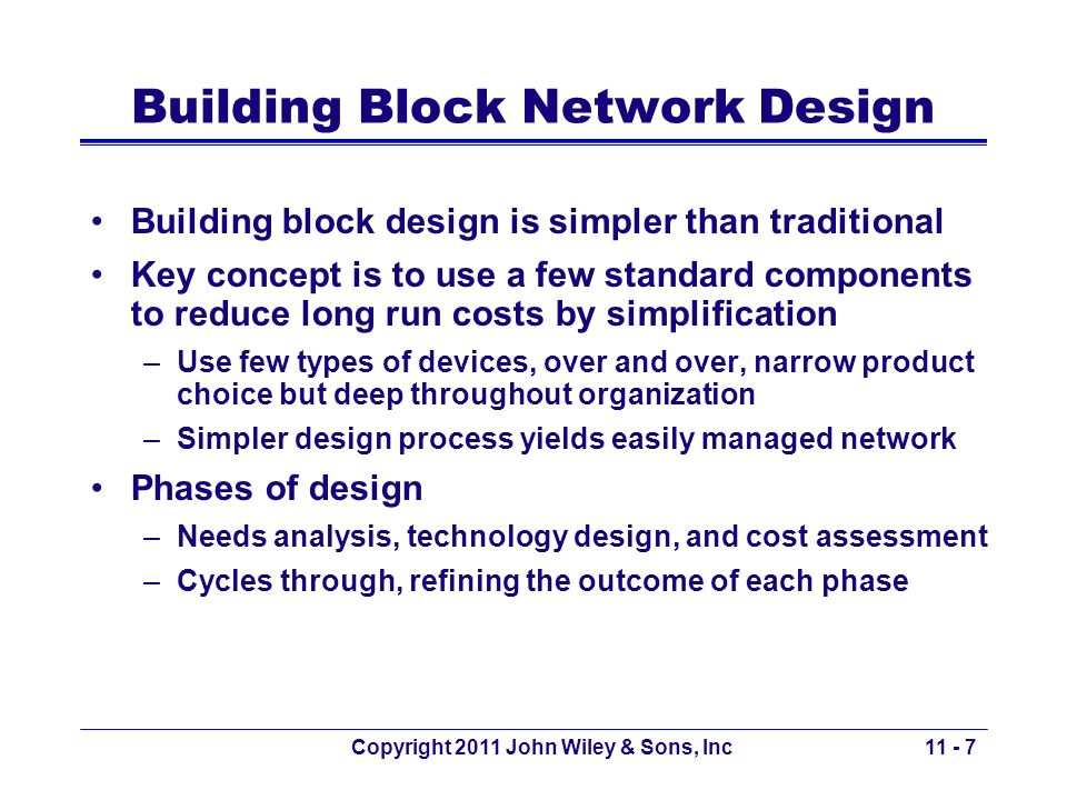 Copyright 2011 John Wiley & Sons, Inc Phases of Building Block Design Needs analysis –Understand current and future needs Classify users and applications as typical or high volume Identify specific technology needs Technology design –Examine available, off-the-shelf technologies and assess which ones meet the needs of user needs –In case of difficulty in determining traffic needs, provide more capacity to keep ahead of growth Cost assessment –Consider the relative cost of technology 11 - 8