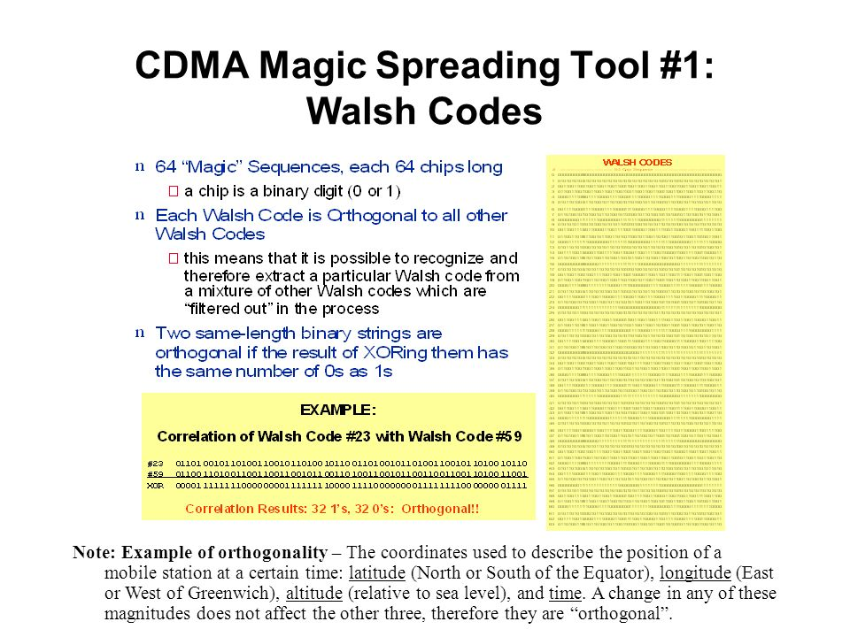 CDMA Magic Spreading Tool #1: Walsh Codes Note: Example of orthogonality – The coordinates used to describe the position of a mobile station at a cert