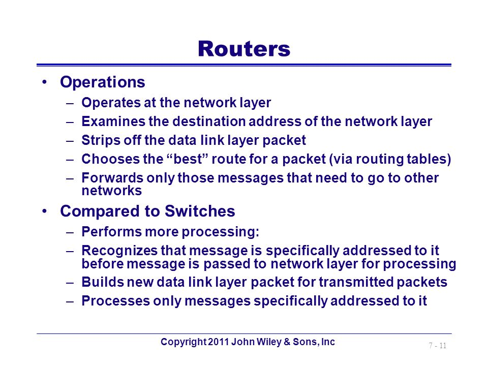 Copyright 2011 John Wiley & Sons, Inc 7 - 11 Routers Operations –Operates at the network layer –Examines the destination address of the network layer