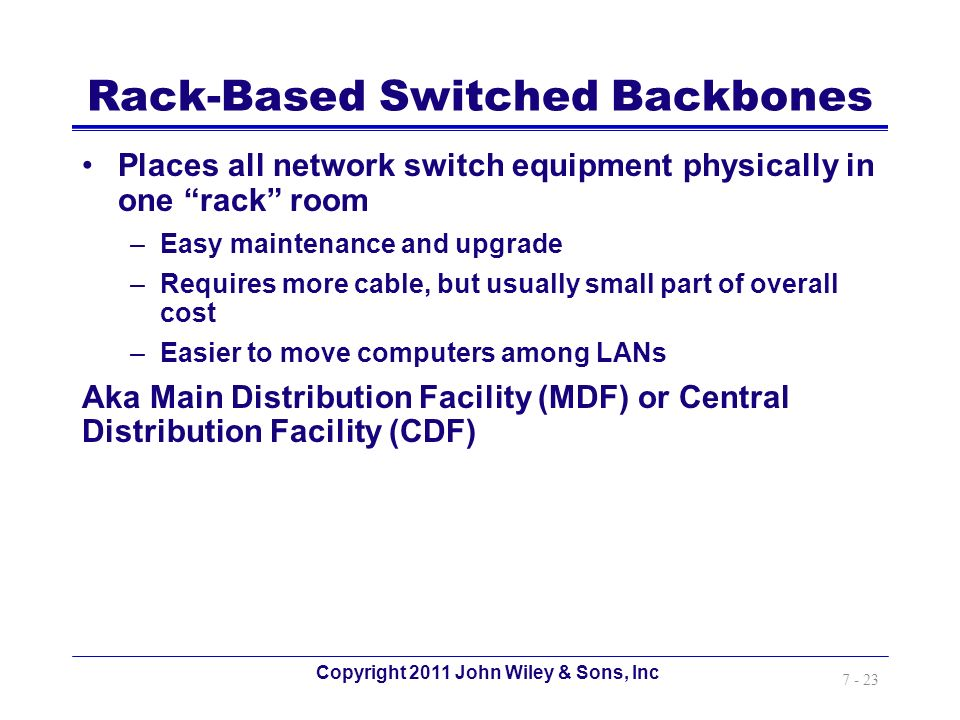 Copyright 2011 John Wiley & Sons, Inc 7 - 23 Rack-Based Switched Backbones Places all network switch equipment physically in one rack room –Easy maint
