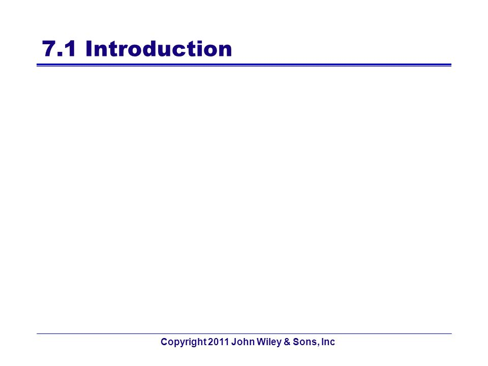 7.1 Introduction Copyright 2011 John Wiley & Sons, Inc