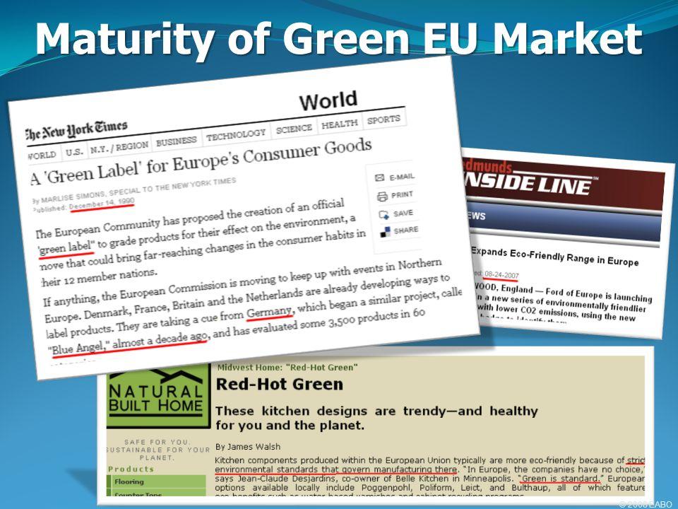 Maturity of Green EU Market © 2008 EABO