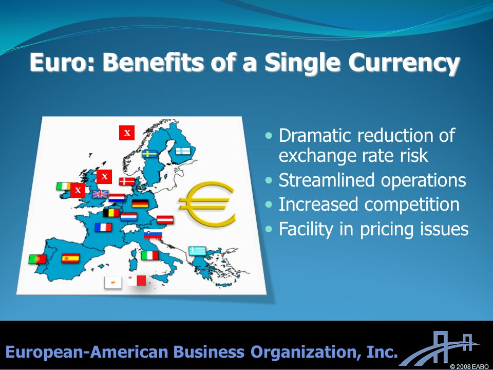 X X X Euro: Benefits of a Single Currency Dramatic reduction of exchange rate risk Streamlined operations Increased competition Facility in pricing is