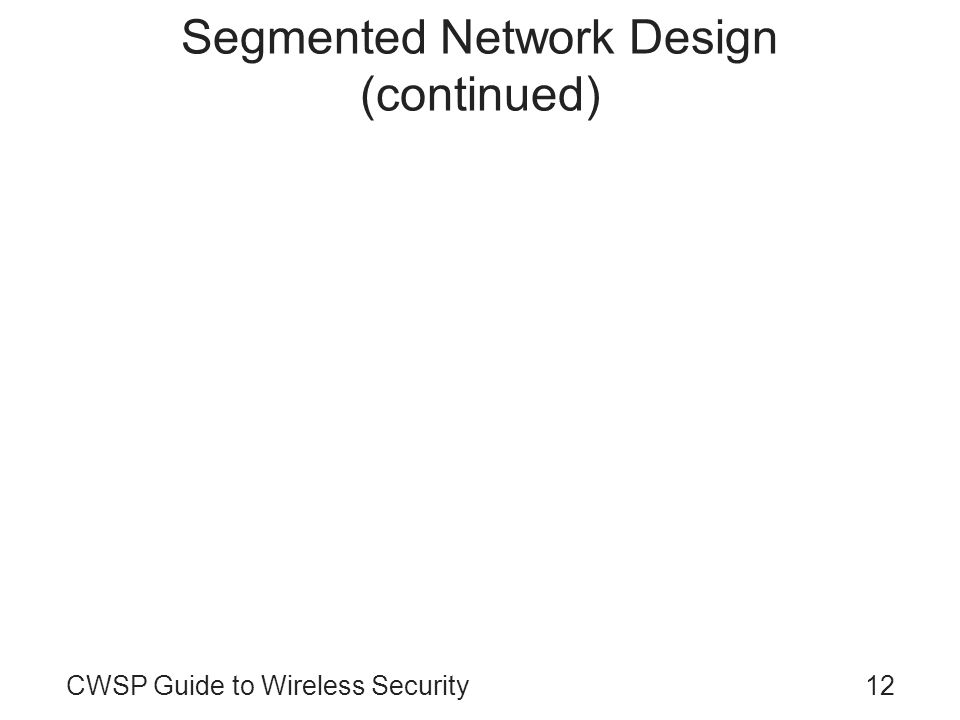 CWSP Guide to Wireless Security12 Segmented Network Design (continued)