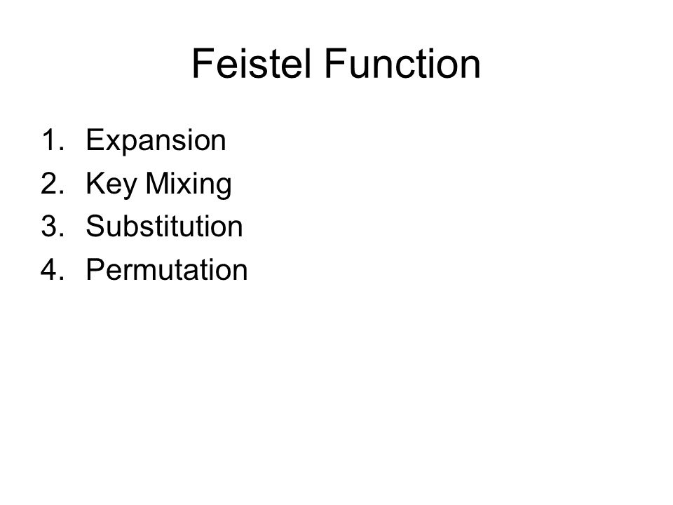 Feistel Function 1.Expansion 2.Key Mixing 3.Substitution 4.Permutation