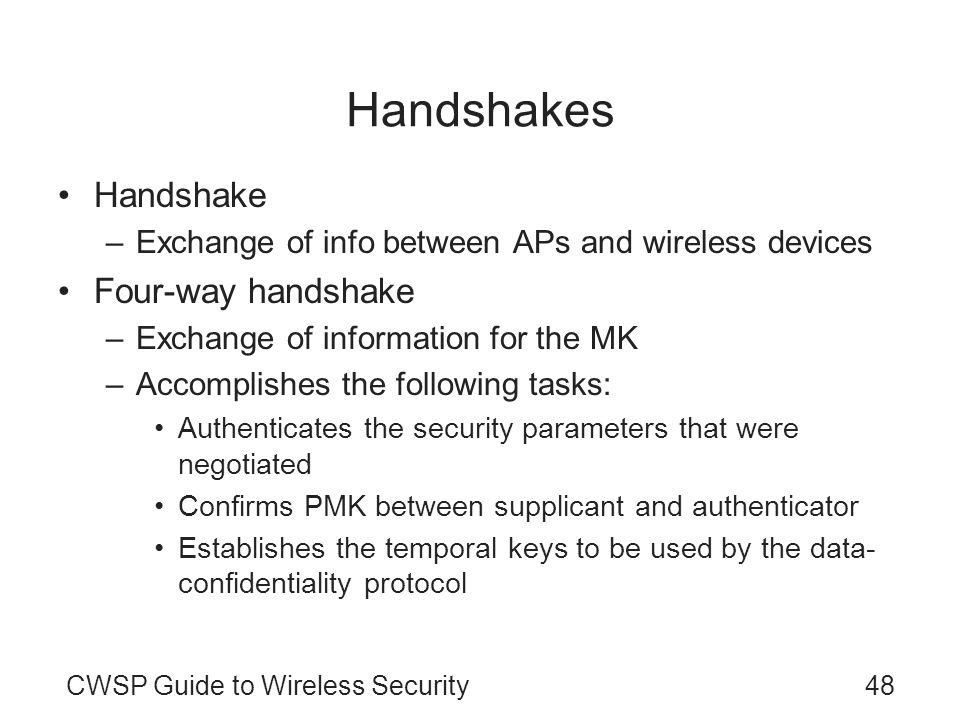 CWSP Guide to Wireless Security48 Handshakes Handshake –Exchange of info between APs and wireless devices Four-way handshake –Exchange of information