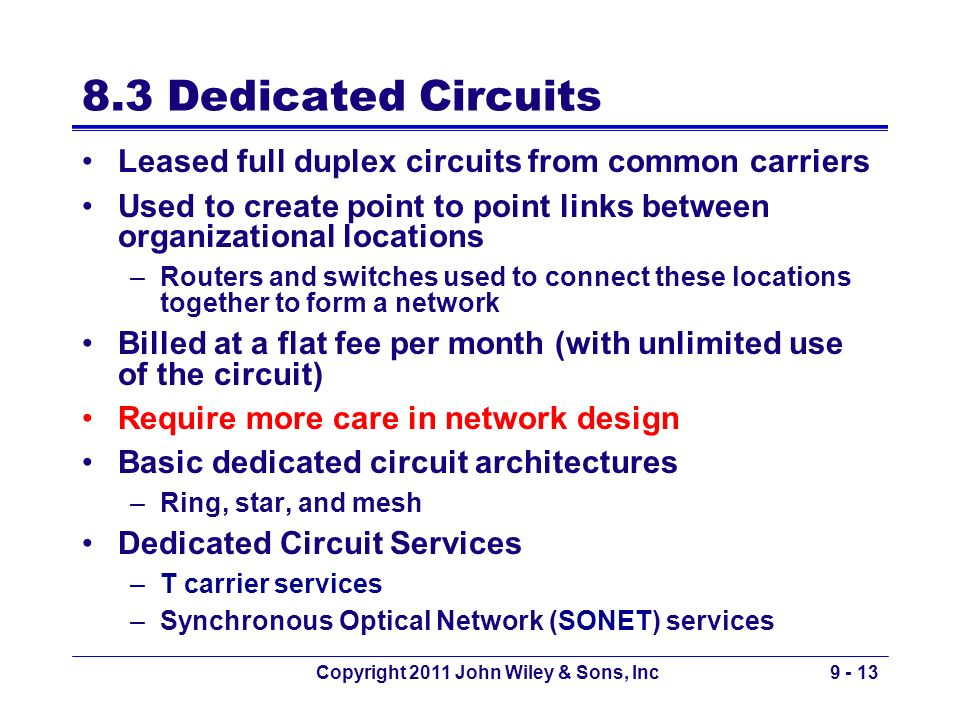 Copyright 2011 John Wiley & Sons, Inc9 - 13 8.3 Dedicated Circuits Leased full duplex circuits from common carriers Used to create point to point link