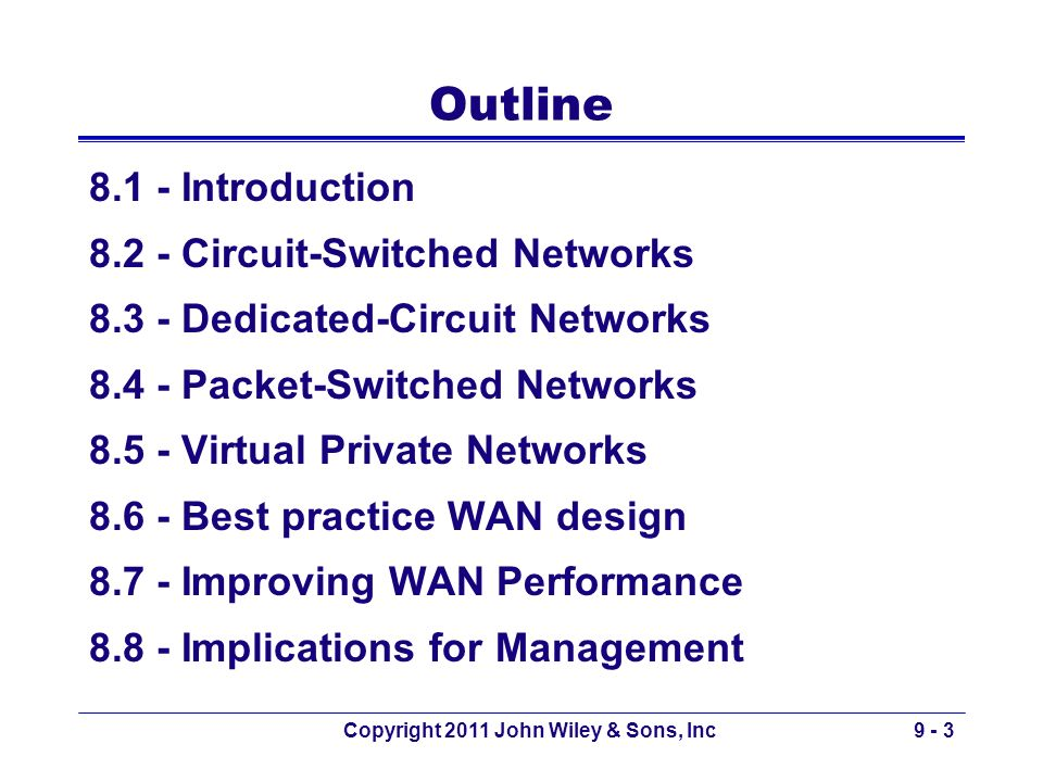 Copyright 2011 John Wiley & Sons, Inc9 - 3 Outline 8.1 - Introduction 8.2 - Circuit-Switched Networks 8.3 - Dedicated-Circuit Networks 8.4 - Packet-Sw