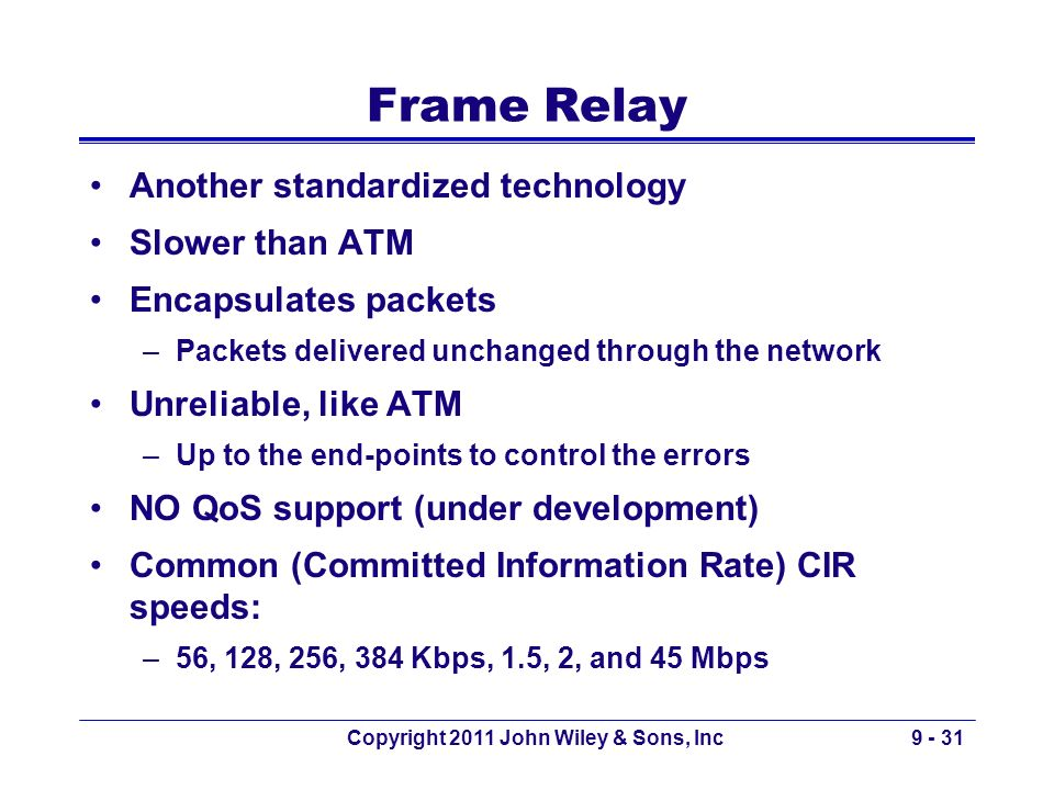Copyright 2011 John Wiley & Sons, Inc9 - 31 Frame Relay Another standardized technology Slower than ATM Encapsulates packets –Packets delivered unchan