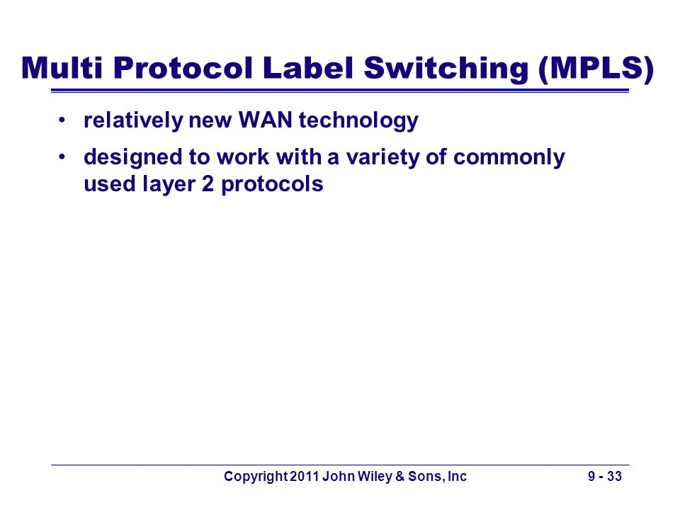 Multi Protocol Label Switching (MPLS) relatively new WAN technology designed to work with a variety of commonly used layer 2 protocols Copyright 2011
