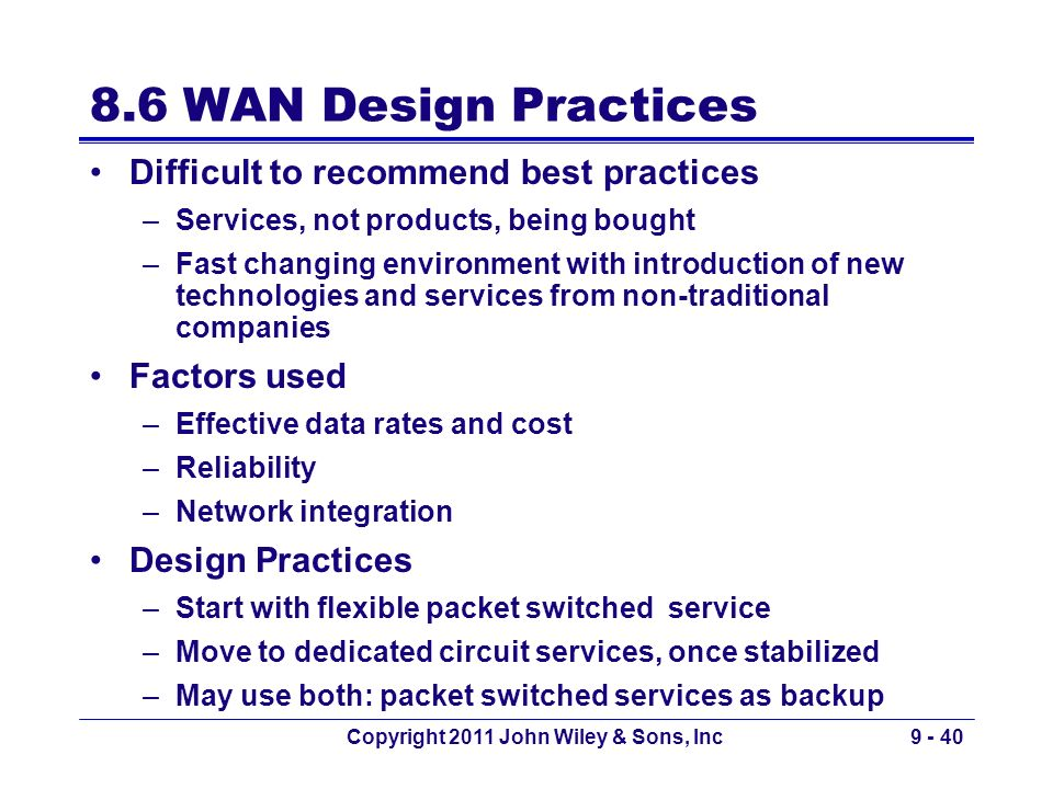 Copyright 2011 John Wiley & Sons, Inc9 - 40 8.6 WAN Design Practices Difficult to recommend best practices –Services, not products, being bought –Fast