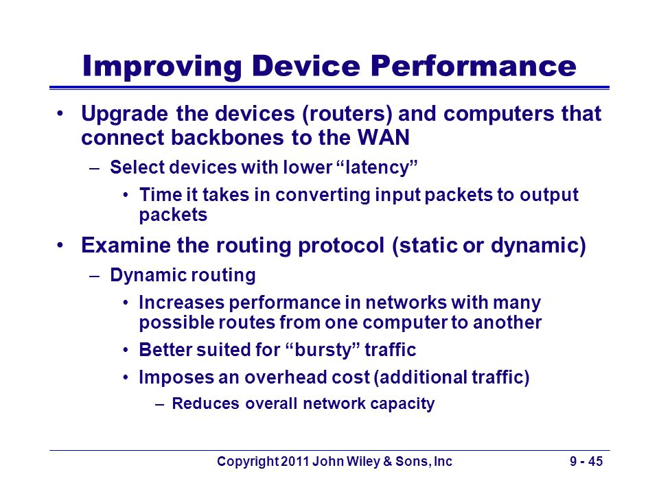 Copyright 2011 John Wiley & Sons, Inc9 - 45 Improving Device Performance Upgrade the devices (routers) and computers that connect backbones to the WAN