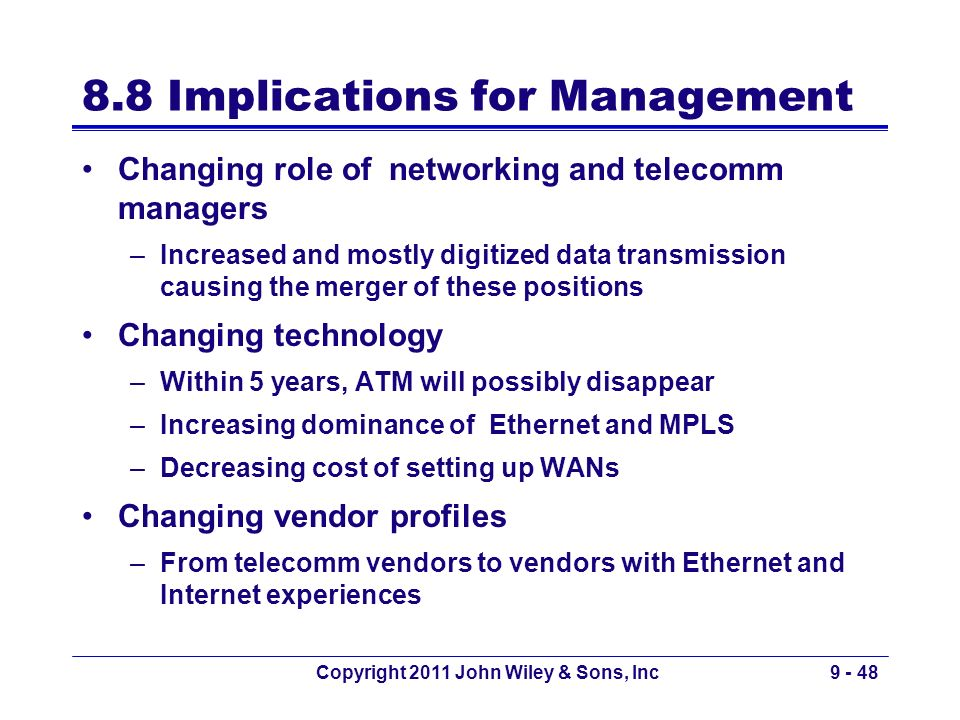 Copyright 2011 John Wiley & Sons, Inc9 - 48 8.8 Implications for Management Changing role of networking and telecomm managers –Increased and mostly di