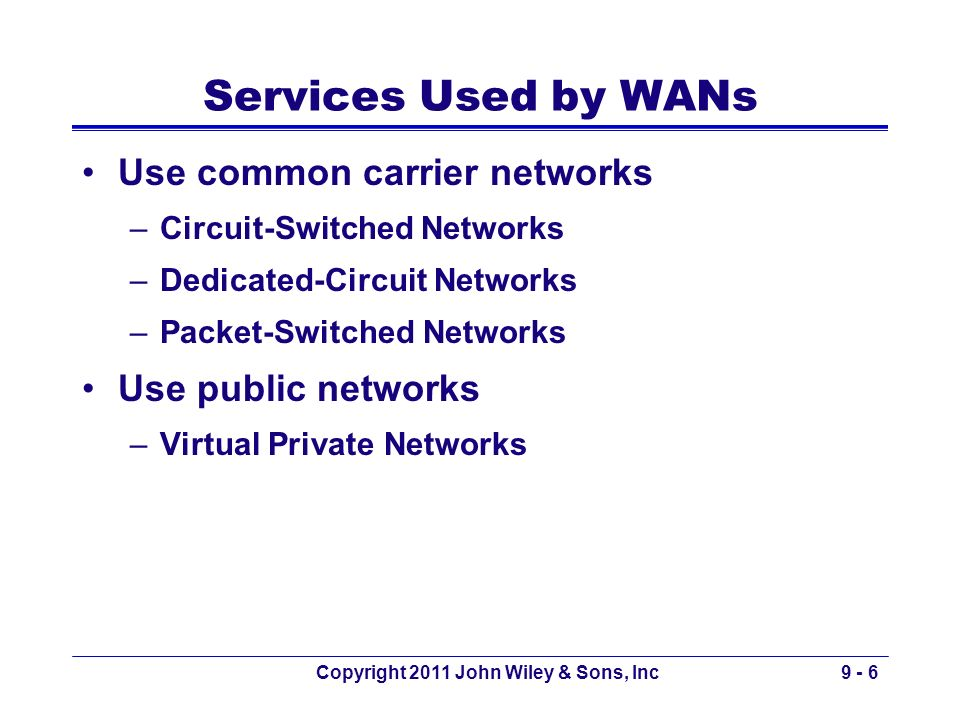 Copyright 2011 John Wiley & Sons, Inc9 - 6 Services Used by WANs Use common carrier networks –Circuit-Switched Networks –Dedicated-Circuit Networks –P