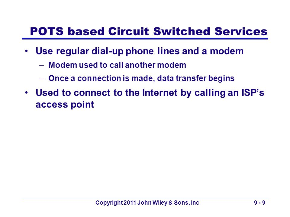 Copyright 2011 John Wiley & Sons, Inc9 - 9 POTS based Circuit Switched Services Use regular dial-up phone lines and a modem –Modem used to call anothe