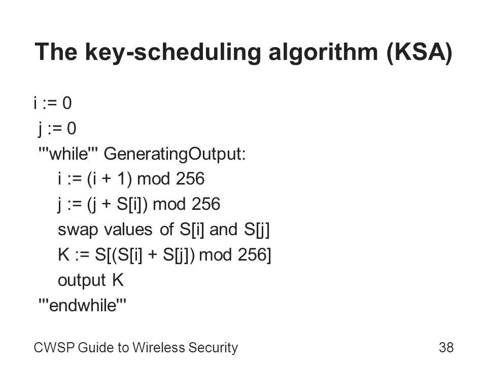 The key-scheduling algorithm (KSA) i := 0 j := 0 '''while''' GeneratingOutput: i := (i + 1) mod 256 j := (j + S[i]) mod 256 swap values of S[i] and S[