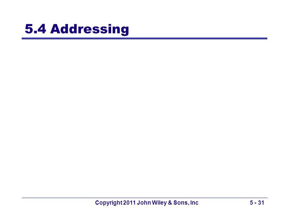 5.4 Addressing Copyright 2011 John Wiley & Sons, Inc5 - 31