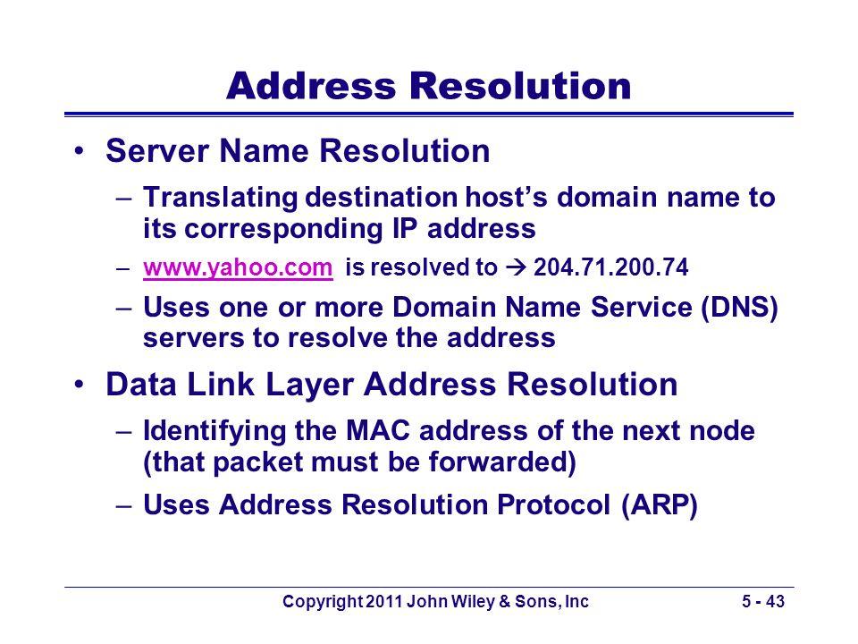Copyright 2011 John Wiley & Sons, Inc5 - 43 Address Resolution Server Name Resolution –Translating destination hosts domain name to its corresponding