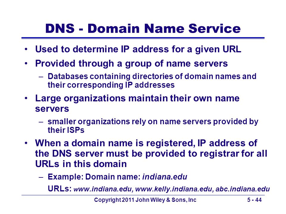 Copyright 2011 John Wiley & Sons, Inc5 - 44 DNS - Domain Name Service Used to determine IP address for a given URL Provided through a group of name se