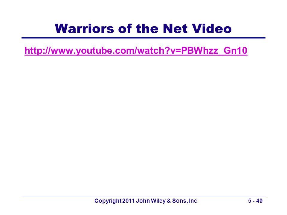 Warriors of the Net Video http://www.youtube.com/watch?v=PBWhzz_Gn10 Copyright 2011 John Wiley & Sons, Inc5 - 49