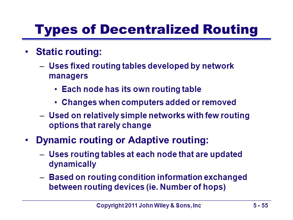 Copyright 2011 John Wiley & Sons, Inc5 - 55 Types of Decentralized Routing Static routing: –Uses fixed routing tables developed by network managers Ea