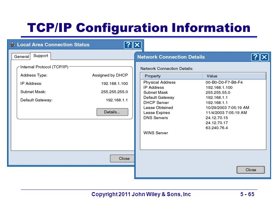 Copyright 2011 John Wiley & Sons, Inc5 - 65 TCP/IP Configuration Information