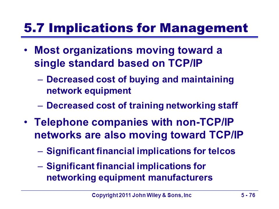 Copyright 2011 John Wiley & Sons, Inc5 - 76 5.7 Implications for Management Most organizations moving toward a single standard based on TCP/IP –Decrea