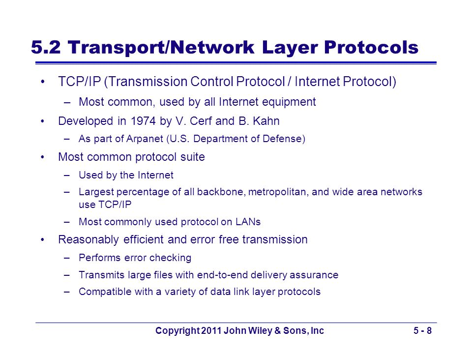 Copyright 2011 John Wiley & Sons, Inc5 - 8 5.2 Transport/Network Layer Protocols TCP/IP (Transmission Control Protocol / Internet Protocol) –Most comm
