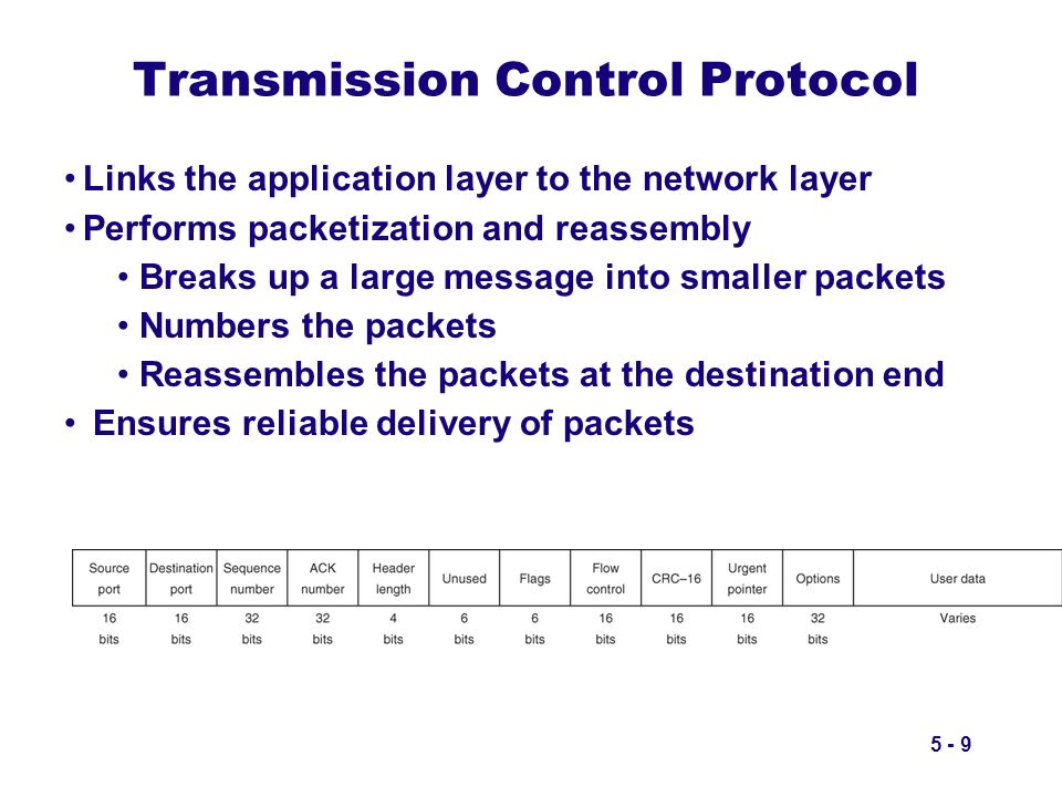 5 - 9 Transmission Control Protocol Links the application layer to the network layer Performs packetization and reassembly Breaks up a large message i