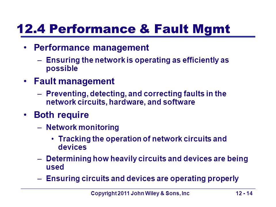 Copyright 2011 John Wiley & Sons, Inc12 - 14 12.4 Performance & Fault Mgmt Performance management –Ensuring the network is operating as efficiently as