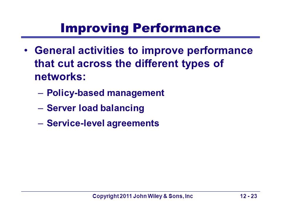 Copyright 2011 John Wiley & Sons, Inc12 - 23 Improving Performance General activities to improve performance that cut across the different types of ne