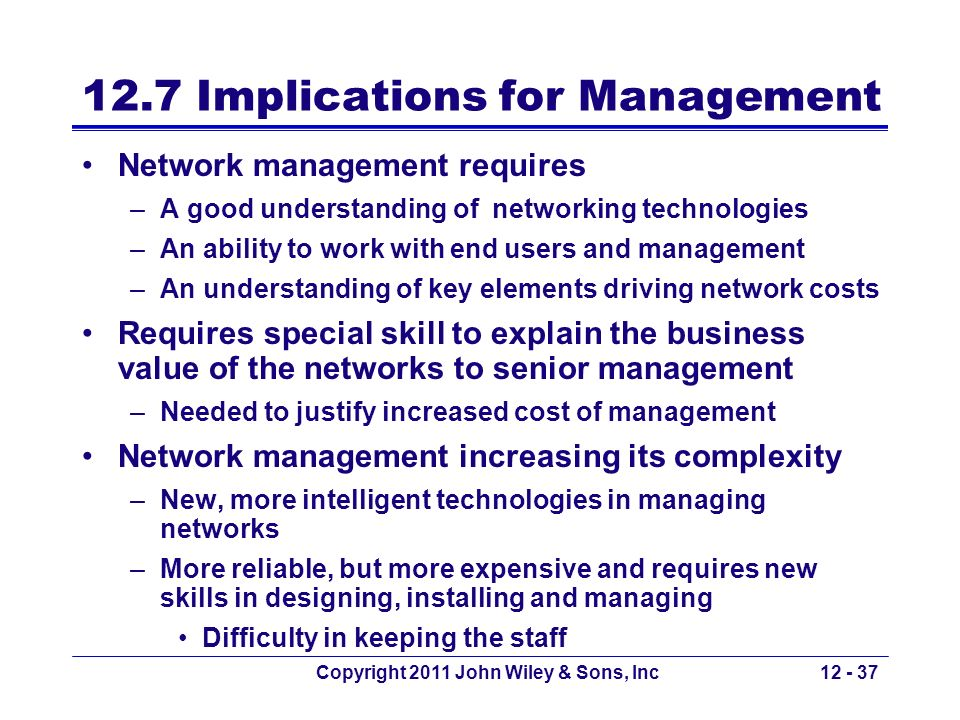 Copyright 2011 John Wiley & Sons, Inc12 - 37 12.7 Implications for Management Network management requires –A good understanding of networking technolo