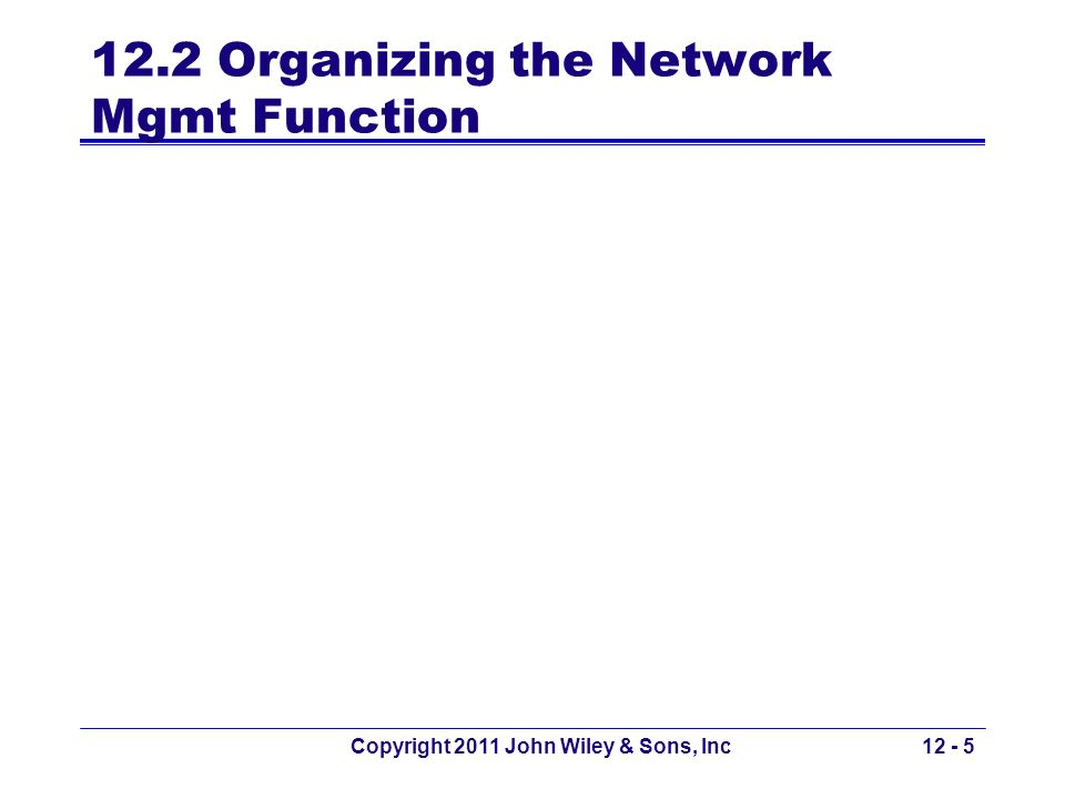12.2 Organizing the Network Mgmt Function Copyright 2011 John Wiley & Sons, Inc12 - 5
