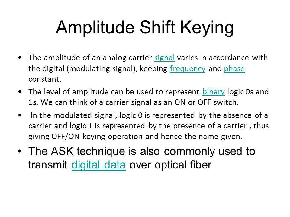 Amplitude Shift Keying The amplitude of an analog carrier signal varies in accordance with the digital (modulating signal), keeping frequency and phas