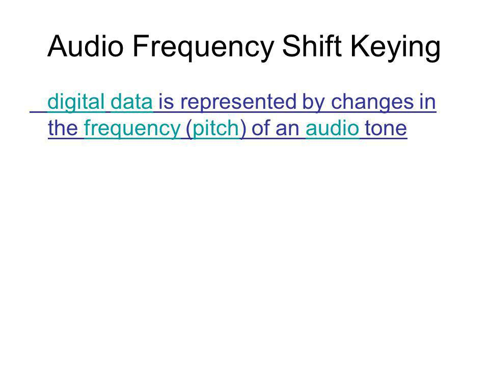 Audio Frequency Shift Keying digital data is represented by changes in the frequency (pitch) of an audio tonedigitaldatafrequencypitchaudio