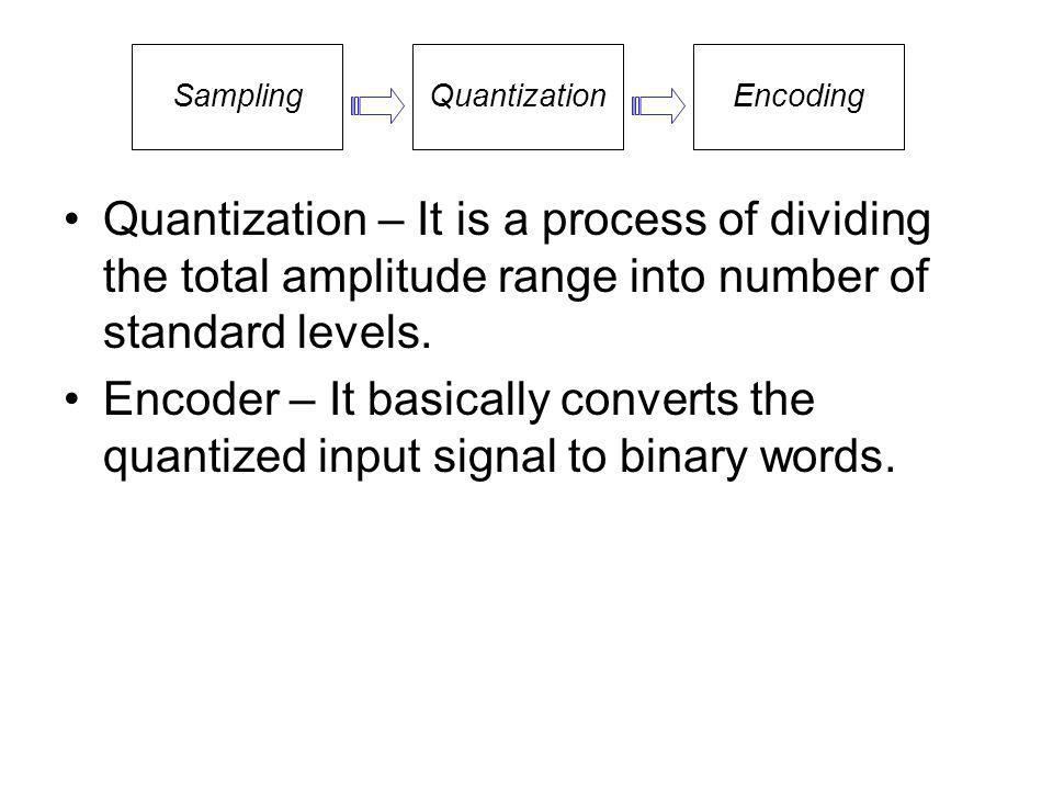 Quantization – It is a process of dividing the total amplitude range into number of standard levels. Encoder – It basically converts the quantized inp