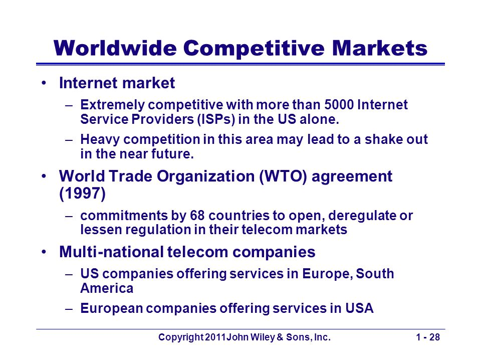 Copyright 2011John Wiley & Sons, Inc.1 - 28 Worldwide Competitive Markets Internet market –Extremely competitive with more than 5000 Internet Service Providers (ISPs) in the US alone.
