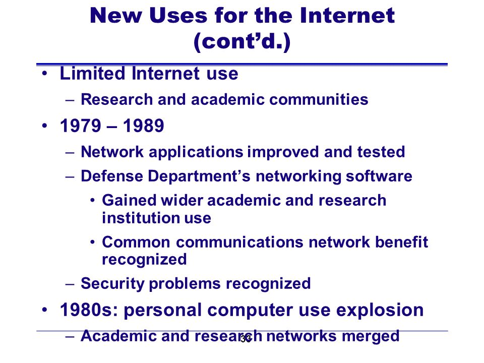 33 New Uses for the Internet (contd.) Limited Internet use –Research and academic communities 1979 – 1989 –Network applications improved and tested –Defense Departments networking software Gained wider academic and research institution use Common communications network benefit recognized –Security problems recognized 1980s: personal computer use explosion –Academic and research networks merged
