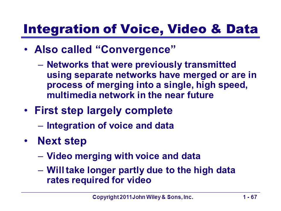 Copyright 2011John Wiley & Sons, Inc.1 - 67 Integration of Voice, Video & Data Also called Convergence –Networks that were previously transmitted using separate networks have merged or are in process of merging into a single, high speed, multimedia network in the near future First step largely complete –Integration of voice and data Next step –Video merging with voice and data –Will take longer partly due to the high data rates required for video