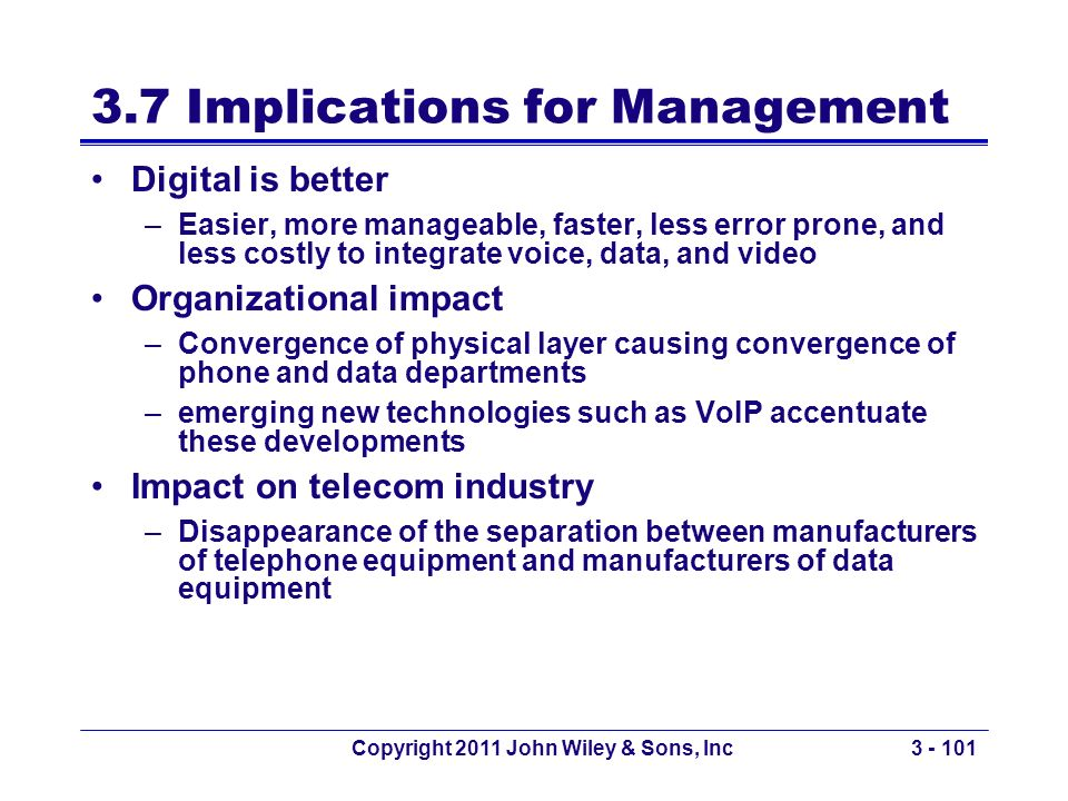 Copyright 2011 John Wiley & Sons, Inc3 - 101 3.7 Implications for Management Digital is better –Easier, more manageable, faster, less error prone, and