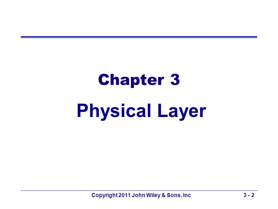 Copyright 2011 John Wiley & Sons, Inc3 - 2 Chapter 3 Physical Layer