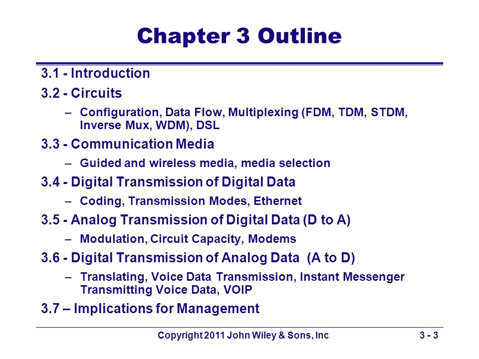 Copyright 2011 John Wiley & Sons, Inc3 - 3 Chapter 3 Outline 3.1 - Introduction 3.2 - Circuits –Configuration, Data Flow, Multiplexing (FDM, TDM, STDM
