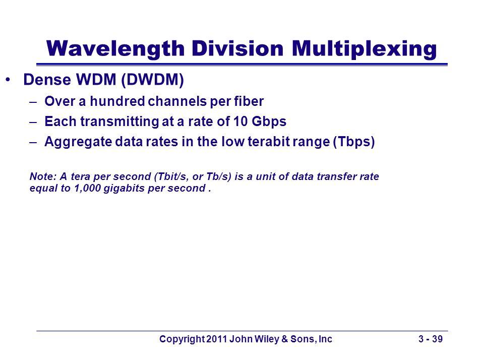 Copyright 2011 John Wiley & Sons, Inc3 - 39 Wavelength Division Multiplexing Dense WDM (DWDM) –Over a hundred channels per fiber –Each transmitting at